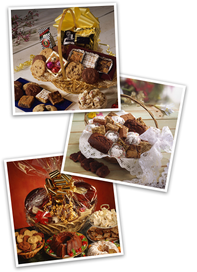 photo collage of gift baskets